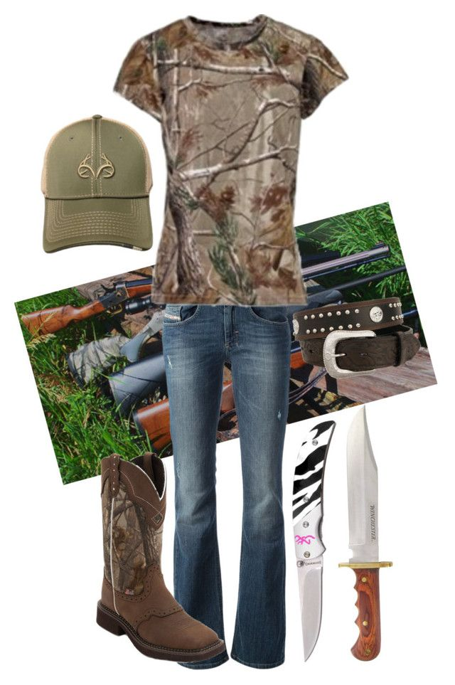 """Rabbit Hunting"" by gunpowderprincess ❤ liked on Polyvore featuring Diesel, CO, Realtree and Gerber"