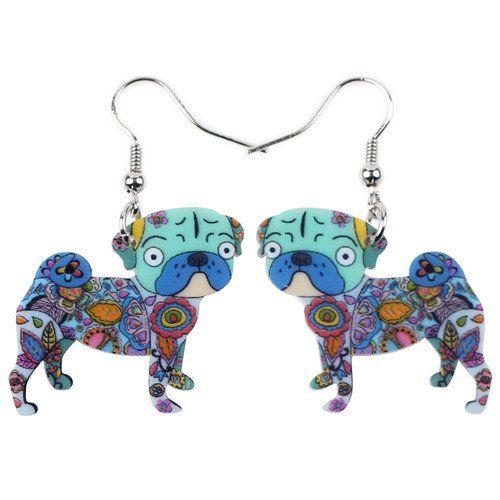 Colorful Pug Shaped Earrings - Digi Animals Fashion Club