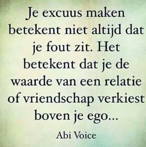 Text - Je excuus maken betekent niet altijd dat je fout zit. Het betekent dat je de waarde van een relatie of vriendschap verkiest boven je ego...