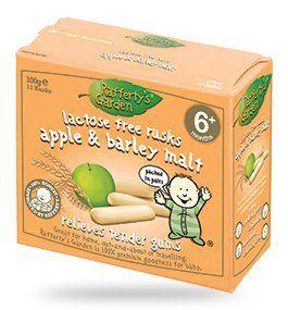 Lactose Free Apple & Barley Malt Rusks Ingredients: wheat flour apple (8%) barley malt (2.3%) wheat germ yeast natural flavour salt mineral (iron)