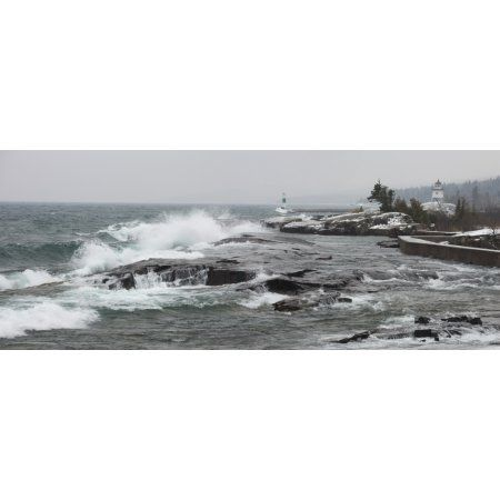 Grand Marais Minnesota United States Of America Large Waves By The Shore In Lake Superior In Winter Canvas Art - Susan Dykstra Design Pics (34 x 13)