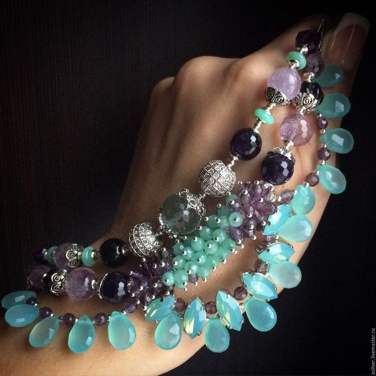 """Купить Браслет """"Амели"""" - мятный, красивый браслет, эксклюзивные украшения, лучшие браслеты, голубой с аметистом"""