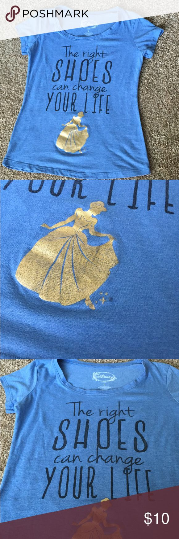 Disney tee Disney Cinderella T-shirt. It is in great condition minus a small part that is missing some gold  (picture 2). Size large. Can fit a medium. Disney Tops Tees - Short Sleeve