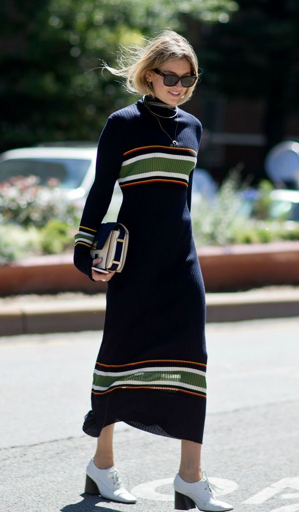 All the New York Fashion Week Street Style You Have to See - Midi length striped sweater dress | StyleCaster, loved by @oneturnkill