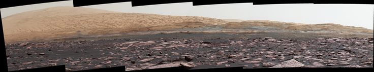 This look ahead from NASA's Curiosity Mars rover includes four geological layers to be examined by the mission, and the higher reaches of Mount Sharp beyond the planned study area.  The view combines six images taken with the rover's Mast Camera (Mastcam) on Jan. 24, 2017, during the 1,589th Martian day of Curiosity's work on Mars, when the rover was still more than half a mile (about a kilometer) north of this area.