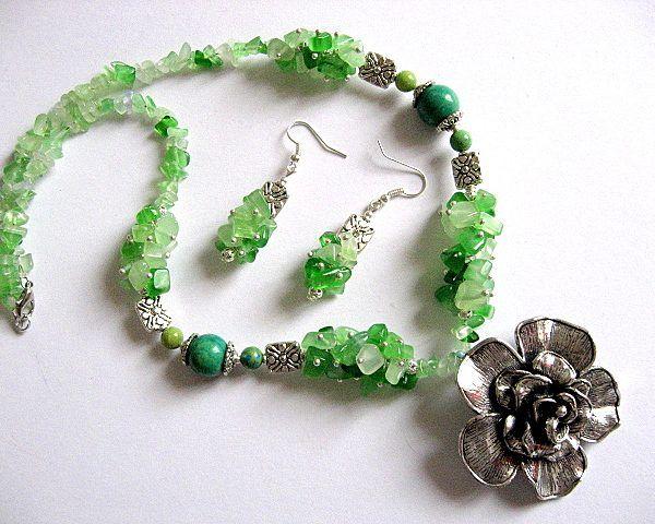 Ochi de pisica verde si crisocolla, set colier si cercei - idei cadouri femei - ocazie - pietre semipretioase