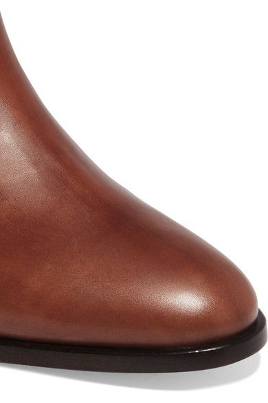 Valentino - Embossed Leather Knee Boots - Tan