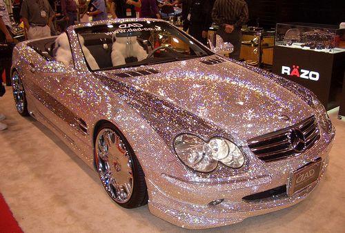 pink, glitter, convertible, mercedes..