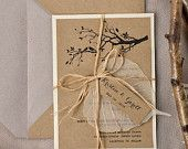 Custom listing (100) Rustic Wedding Invitation, Recycling Paper,Tree Wedding Invitation, Garden wedding invitation, Birds in love invitation