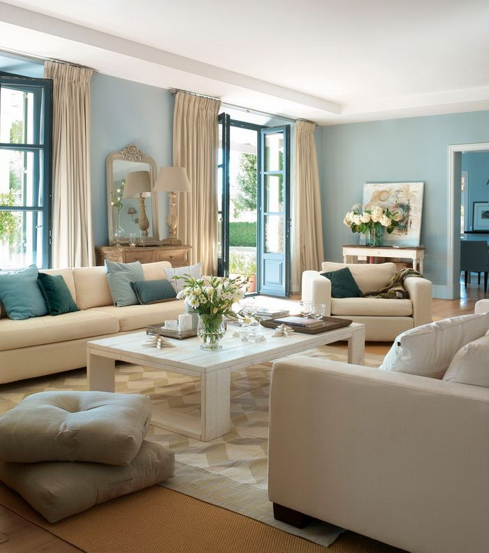love the blue cream blue living roomsbeautiful living roomsliving room ideasliving room colorsbedroom - Blue Living Room Color Schemes