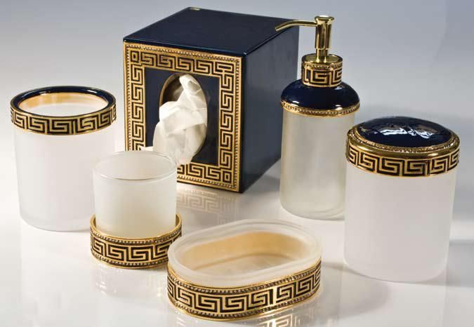 Black gold bathroom accessories black gold for Black white bathroom accessories