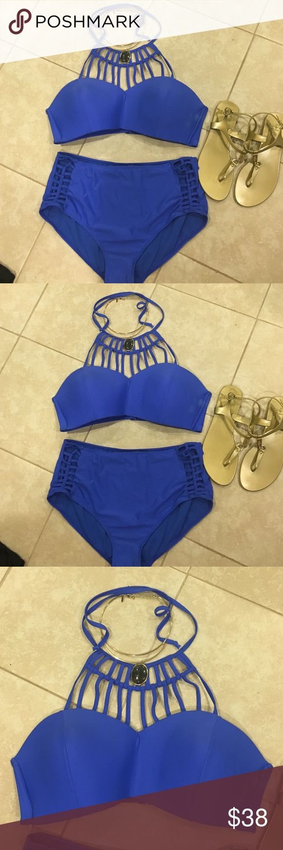 Blue bikini bathing suits PRICE AS FIRM 2 piece halter top with high wasted top tinibikini Swim Bikinis