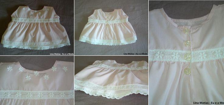 Vestido de bebé dos 0 aos 3 meses. Aprenda a fazer todo o género de roupas nas aulas de costura Lina Matias.