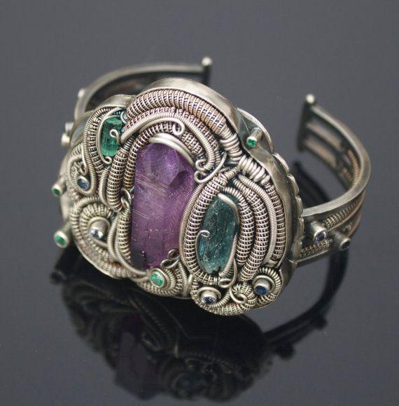 Biggie Smalls  OOAK amethyst crystal bracelet / by TendaiDesigns tendaidesigns.etsy.com