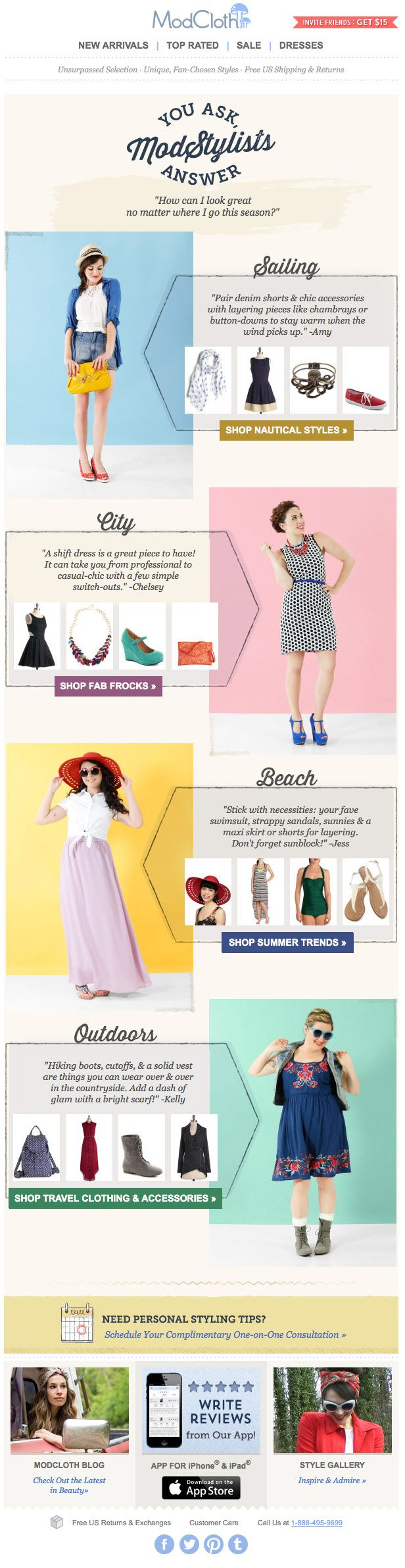 modcloth built looks stylists help more email layoutnewsletter designemail