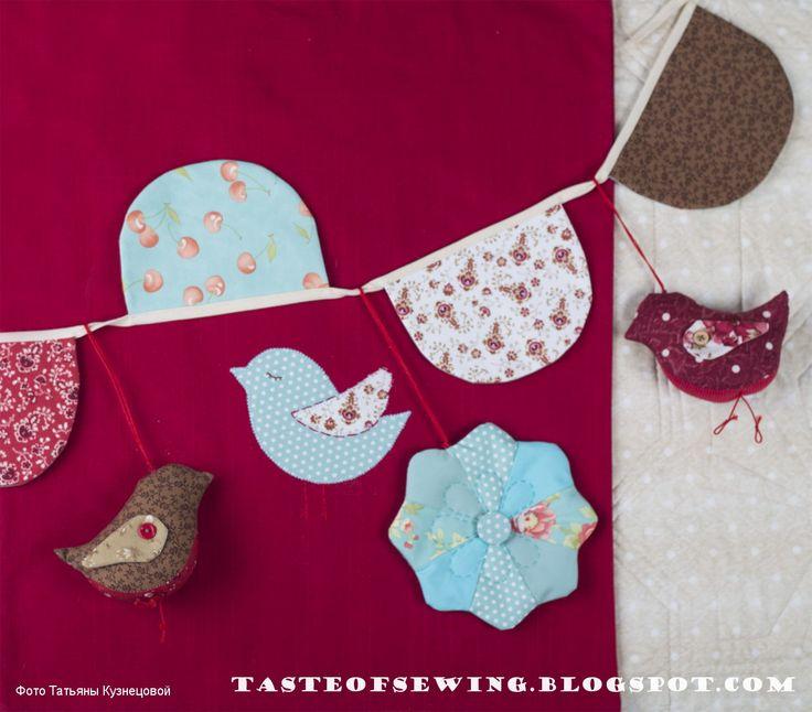 A taste of sewing: гирлянда из ткани для детской кроватки