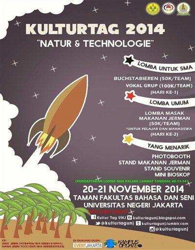 """Kultur Tag 2014 """"Natur & Technologie"""" 20 – 21 November 2014 At Taman Fakultas Bahasa dan Seni Universitas Negeri Jakarta  http://eventjakarta.com/kultur-tag-2014-natur-technologie/"""