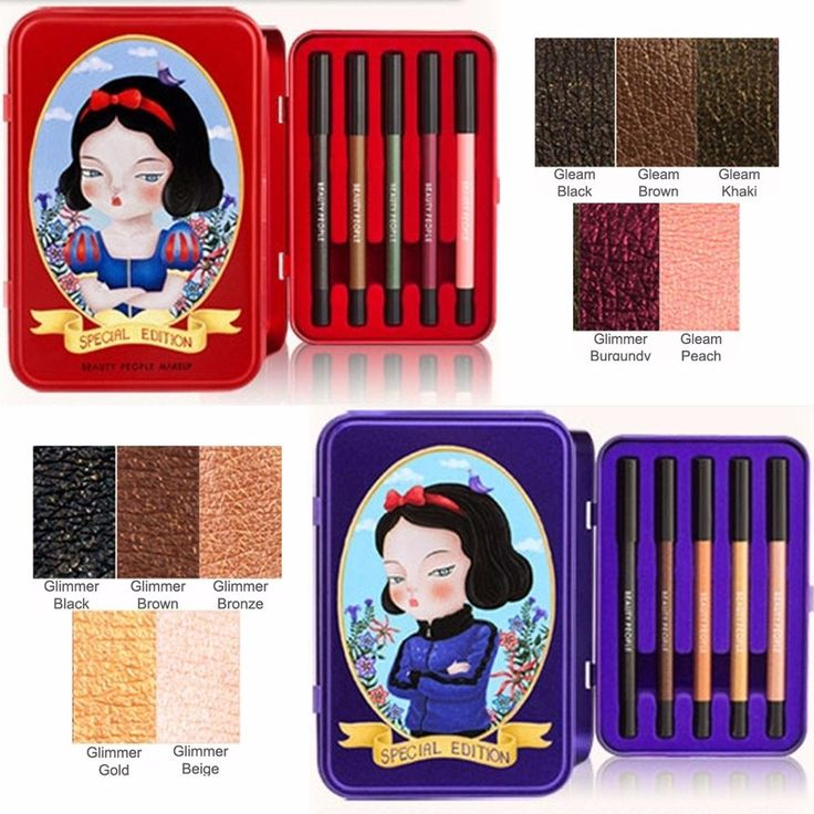 Beauty People Snow White Waterproof 5 Color Pencil Liner Special Edition Set Sea…