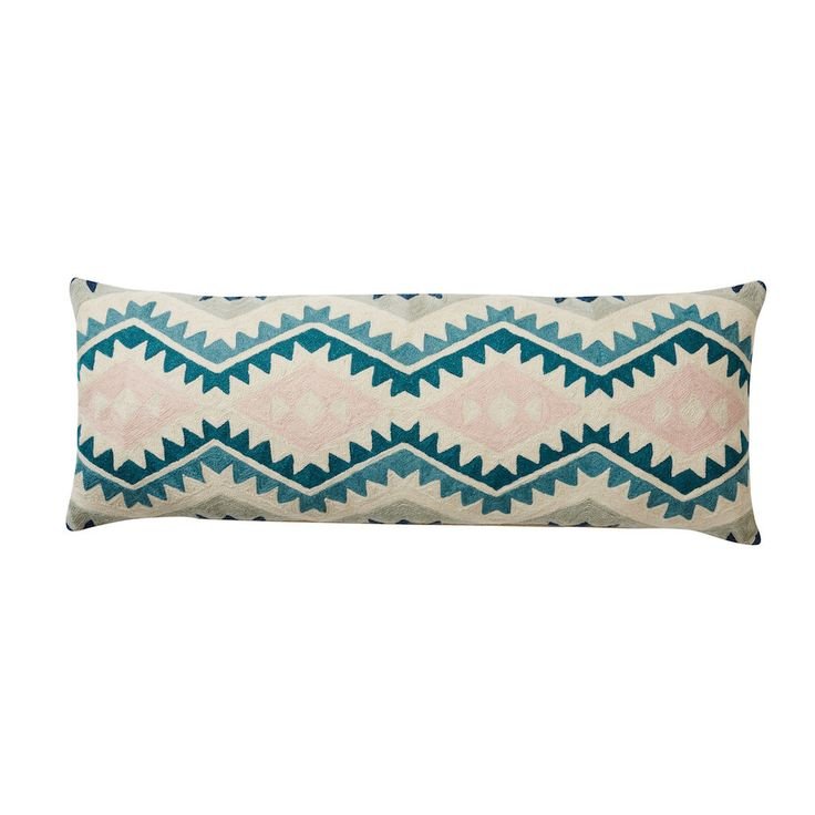 Long Chainstitch Embroidered Cushion with Berber pattern