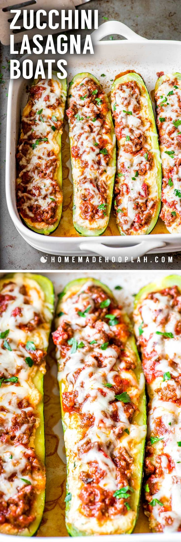 Zucchini Lasagna Boats! Tender baked zucchini filled with a mix of flavorful cheeses and topped with a meaty Ragu sauce. Plus, it's easy to adjust the serving amount of this recipe to fit any time, date, or occasion! #AD #SimmeredinTradition   HomemadeHooplah.com