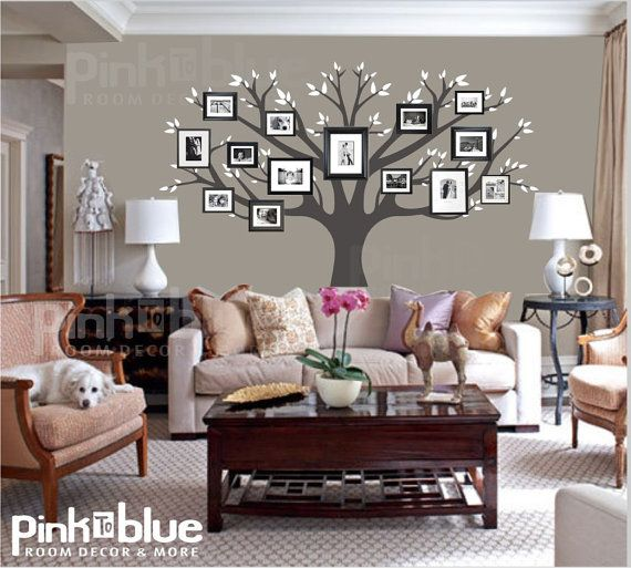 Family Tree Wall Decal Picture Frame Tree by pinktoblue on Etsy, $119.00. Good idea for bonus room