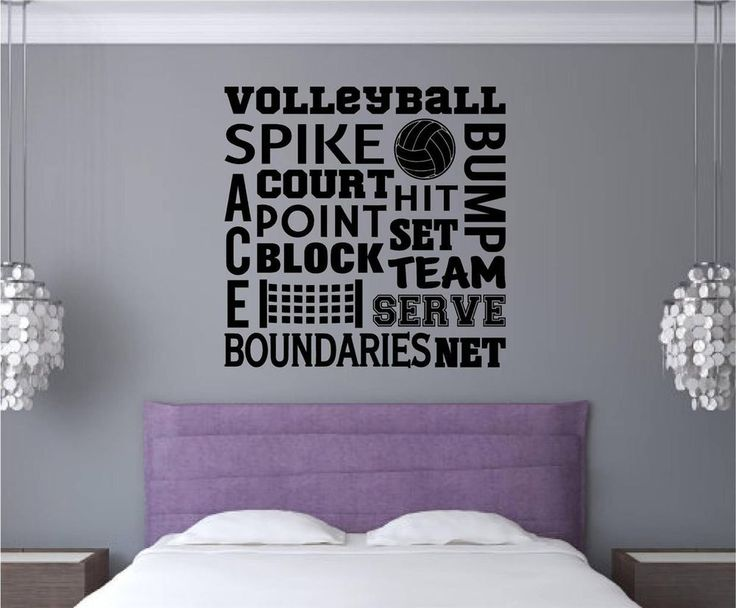 Volleyball Vinyl Decal Wall Stickers Words Letters Sports Teen Room Decor in Home & Garden | eBay