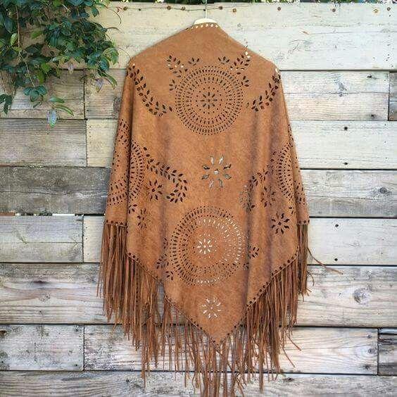 ☮ American Hippie Bohéme Boho Style ☮  Leather Fringe Poncho Jacket