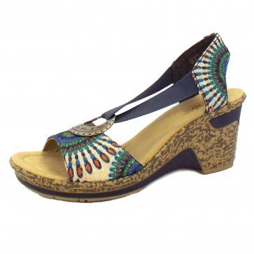 Perfect for summer, the comfortable and stylish Rieker Honeysuckle Ladies Wedge Shoe in Blue Tapestry #summer #style