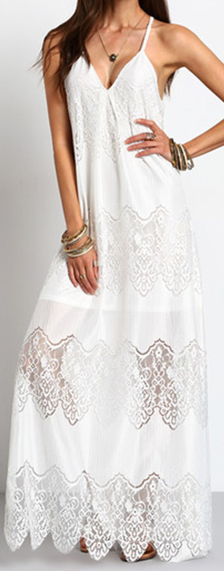 Really love the corchet lace dress this summer. Stunning dress is it! Looks better in real. Cream color & Deep V Neck and Split Slip is perfectly combined. Love!
