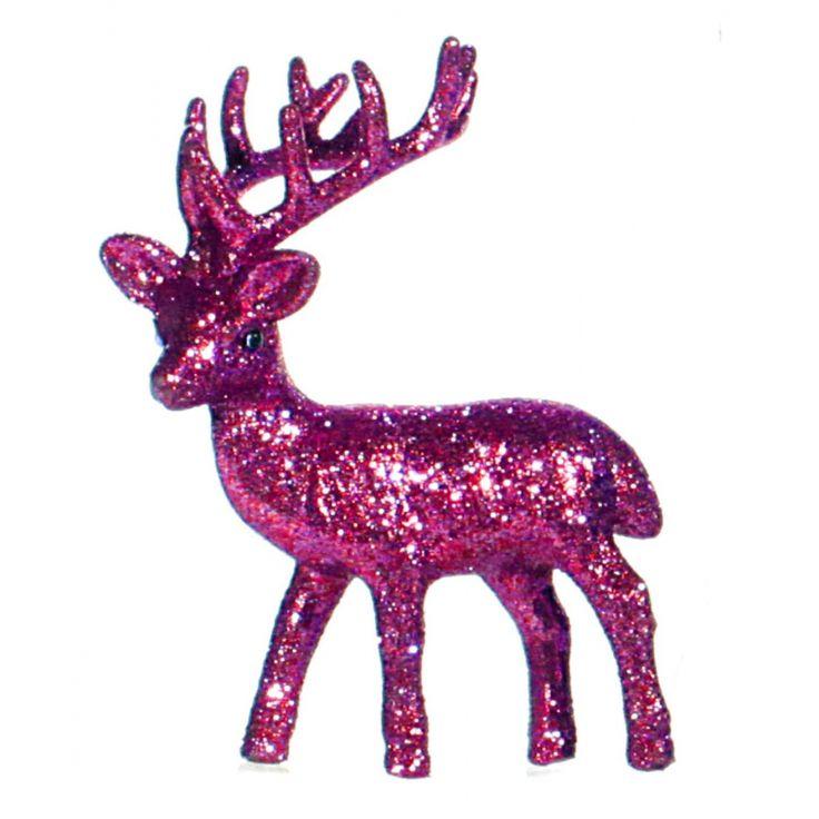 Kerst roze rendier vensterbank versiering 10 cm  Plastic rendier met fuchsia roze glitters. Het decoratie rendier kan rechtop staan en heeft een formaat van 4 x 8 x 10 cm.  EUR 2.25  Meer informatie