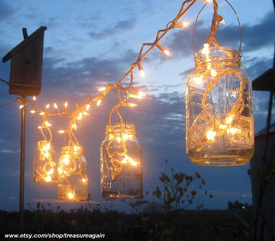 String Lights DIY - Think Drey Jars - under the tall laurel in the back yard.