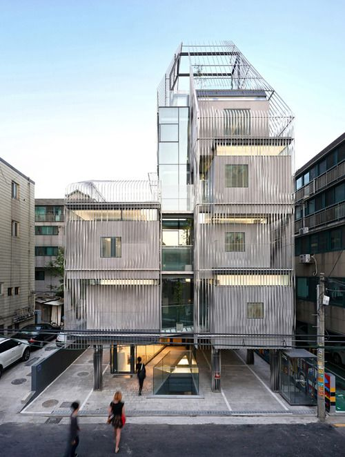 """ARCH ATLAS. """"this 'Tapioca Space' becomes a soft intersection between public/private and interior/exterior building social fabrics between immediate neighbors"""".  Songpa Micro-Housing Korea"""
