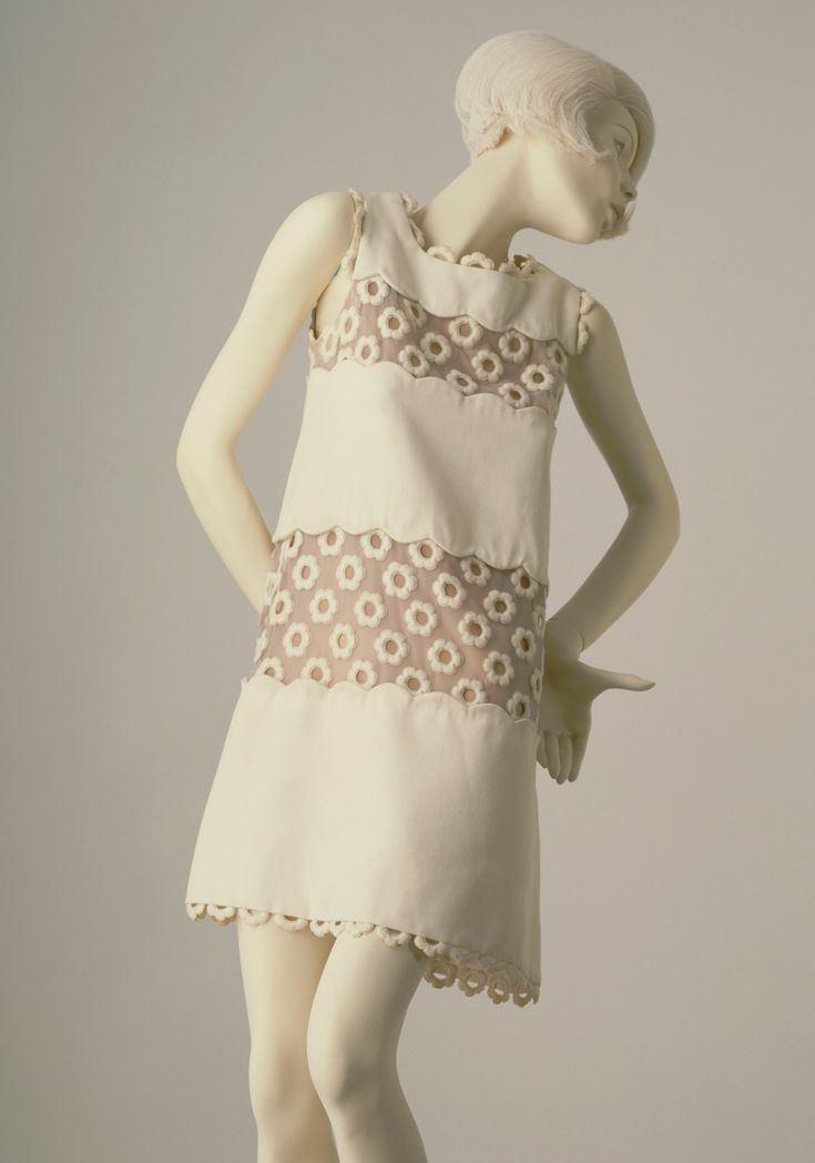 André Courrèges  1967  Cotton and machine-embroidered organza, lined with silk.  V Museum