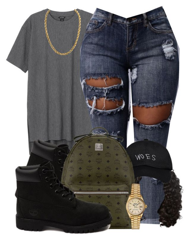 """Untitled #644"" by b-elkstone ❤ liked on Polyvore featuring Monki, Timberland, October's Very Own, MCM and Rolex"