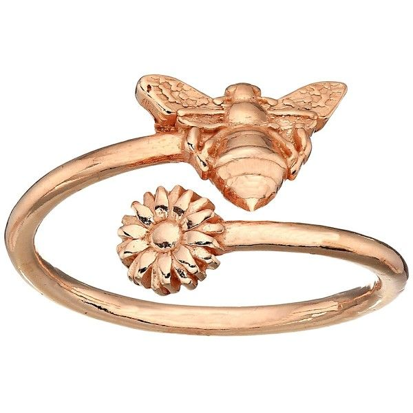 Alex and Ani Ring Wrap Bee (Rose Gold) Ring ($28) ❤ liked on Polyvore featuring jewelry, rings, rose gold ring, flower jewelry, bee jewelry, honey bee jewelry and red gold jewelry