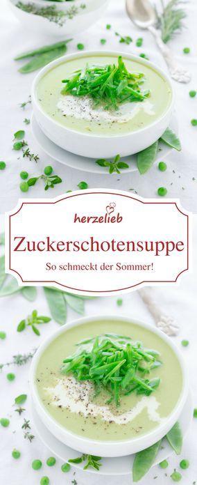 Suppen Rezepte: Leckere Zuckerschoten Suppe - herrlich knackig und ein echtes Sommergericht von herzelieb