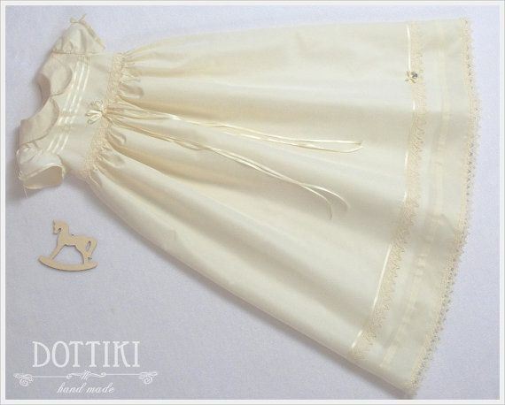 Silk Christening Dress  Baptism Gown Blessing by DOTTIKI on Etsy
