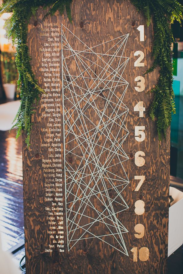 Unique Seating Chart (& easy to change at the last minute!) The Cream Event Los Angeles, Jesi Haack Design, JL Design, string art, seating chart, gold, greenery