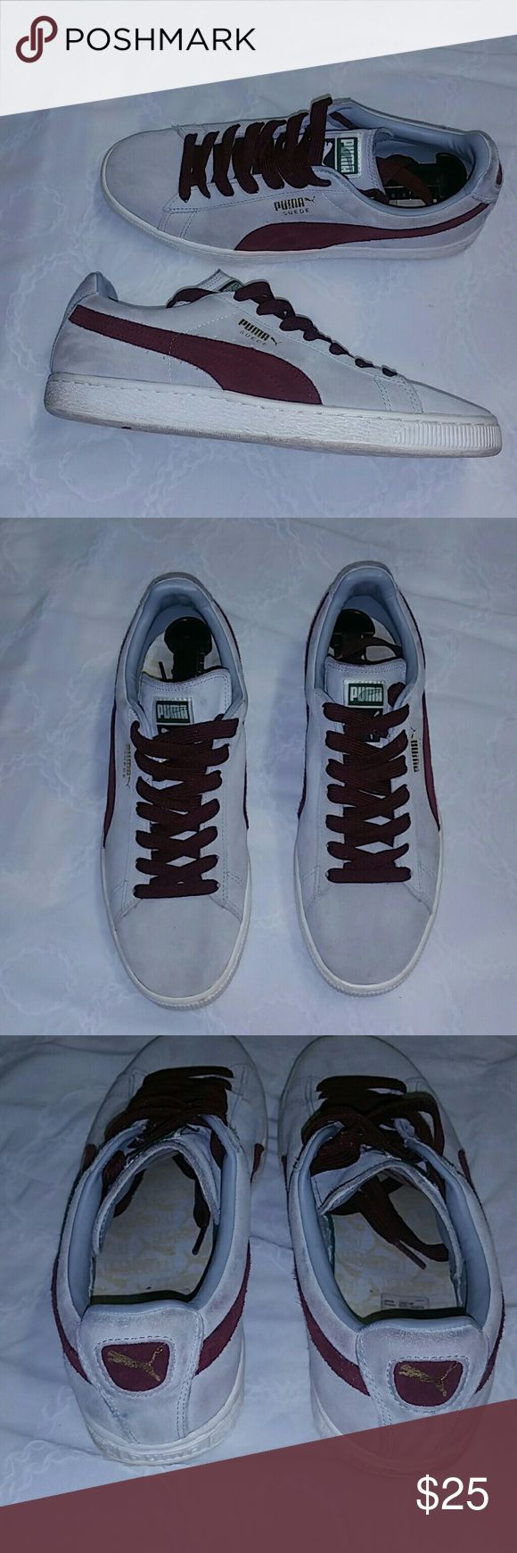 Men's PUMA Suede Classic Sneakers, PRE-OWNED Men's Gray and Burgundy PUMA Suede Classic Sneakers Gently worn, very comfortable. Have little dirt (see pics), size 9.5 Puma Shoes Sneakers