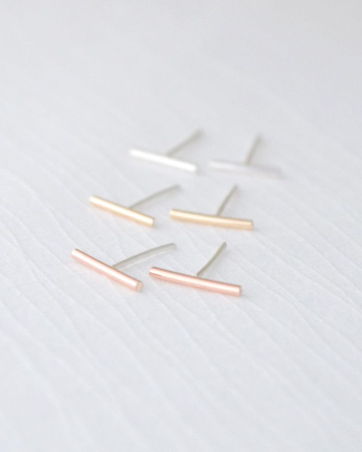 Baby Bar Earrings | Olive Yew for ear cuffs, custom jewelry and rose gold necklaces
