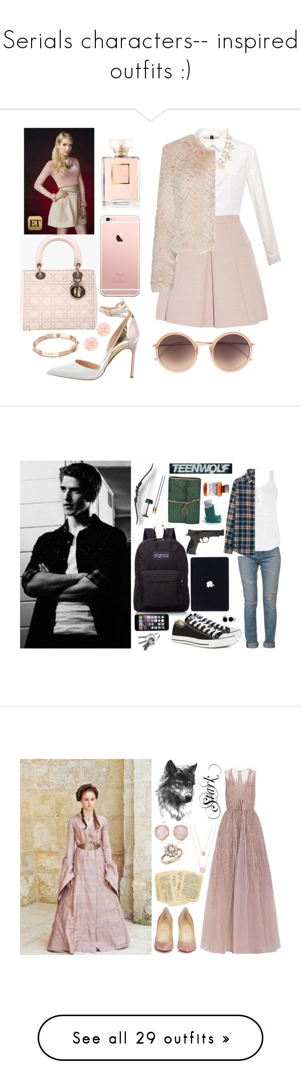 """""""Serials characters-- inspired outfits :)"""" by elisehart ❤ liked on Polyvore featuring Alexander McQueen, Manolo Blahnik, Christian Dior, Forever 21, Alice + Olivia, Dettagli, CC SKYE, Linda Farrow, Chanel and ScreamQueens"""
