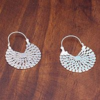 Sterling silver hoop earrings, 'Aztec Magnificence'