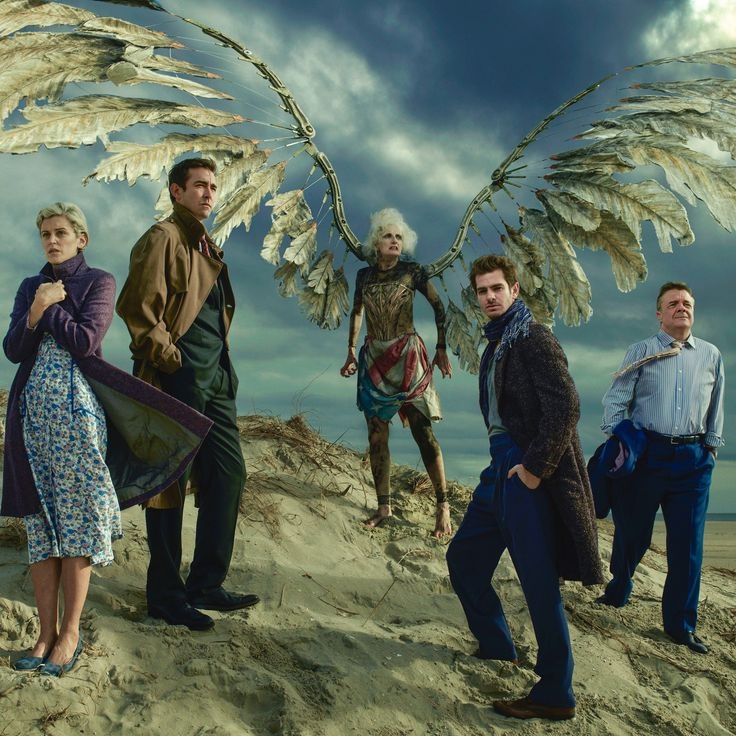 "Marianne Elliott's stunning new production of ""Angels in America,"" which, after a great run at London's National Theatre during the 2017 summer, comes to Broadway in February, 2018, after 25 years. The cast, from left, includes: Denise Gough, Lee Pace, Amanda Lawrence, Andrew Garfield, and Nathan Lane. Photographed by Annie Leibovitz for Vogue February 2018 issue."