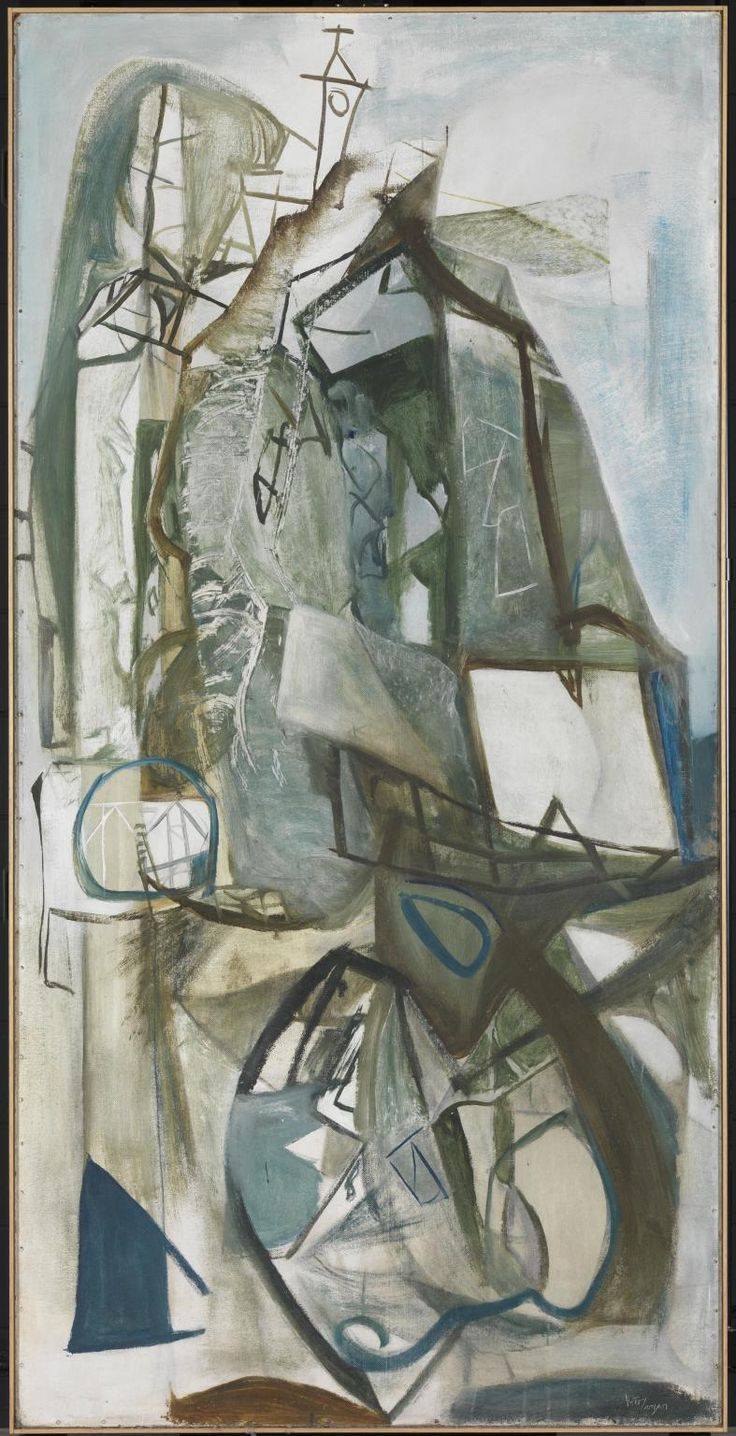 """Porthleven (1951) by Peter Lanyon. """"...The fishing port of Porthleven from several perspectives, revealing its two harbours and clock tower. Lanyon later identified a human presence in the work, reading the shape on the left as a fisherman with lamp and his wife wrapped in a shawl on the right"""" [Tate Gallery]. He completed the picture very quickly, just in time for a competition."""