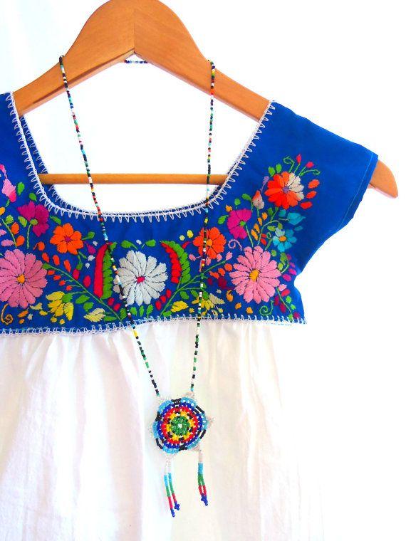 Celina Mexican handmade embroidered mix cotton baby tunic dress // Elizabeth Palmer via Etsy