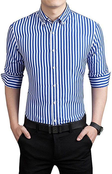 2a83d89b0dc4 DOKKIA Men's Formal Business Vertical Striped Button Down Long Sleeve Dress  Shirts (Medium, Blue White) at Amazon Men's Clothing store: