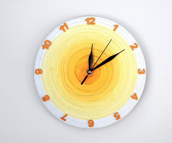 yellow WALL CLOCK UNIQUE wall clock White home decor by PilipArt