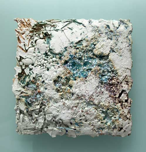 Ceramics by Jenny Beavan at Studiopottery.co.uk - 2010. Saturation - china clay and china clay products, glaze, glass sands and beach pebbles. Mounted on glass 35cm x 35cm