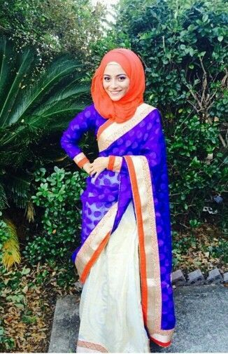 8 Best Saree Styles for Muslims-Stylish Hijab with Saree Ideas