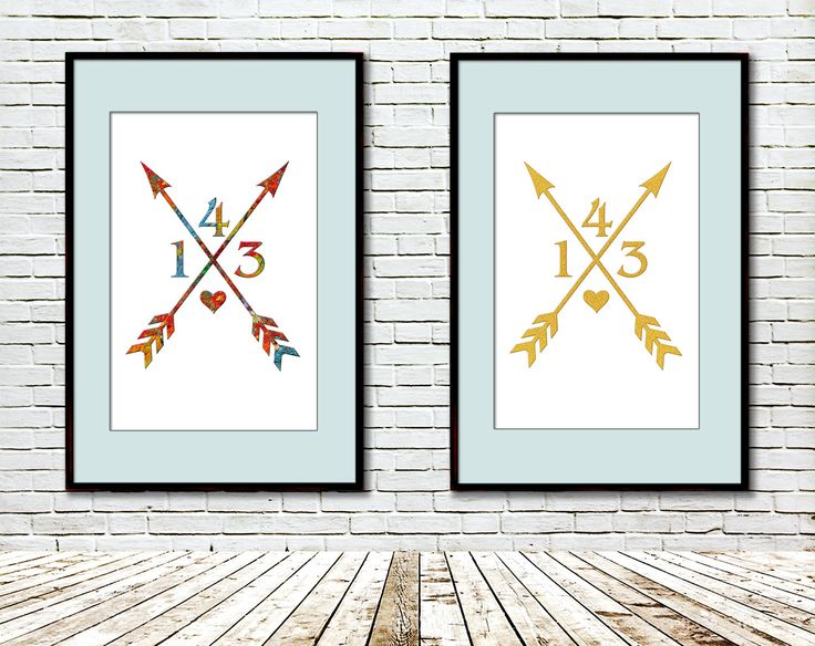 Arrow Printable, Modern art, Art print, Gold glitter, Artist palette, Love arrow, Modern Geometric Wall Decor, 143, Heart, Digital by GecleeArtStudio on Etsy